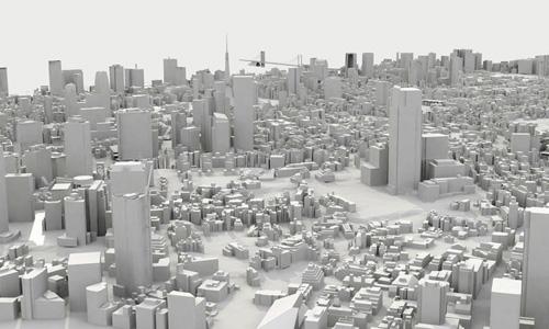 3D representation of the Minato Ward (Tokyo)